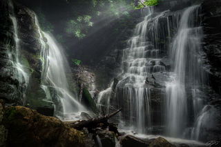 long exposure, sony alpha, waterfall, light rays, mist, rare, rhododendron, sunbeam