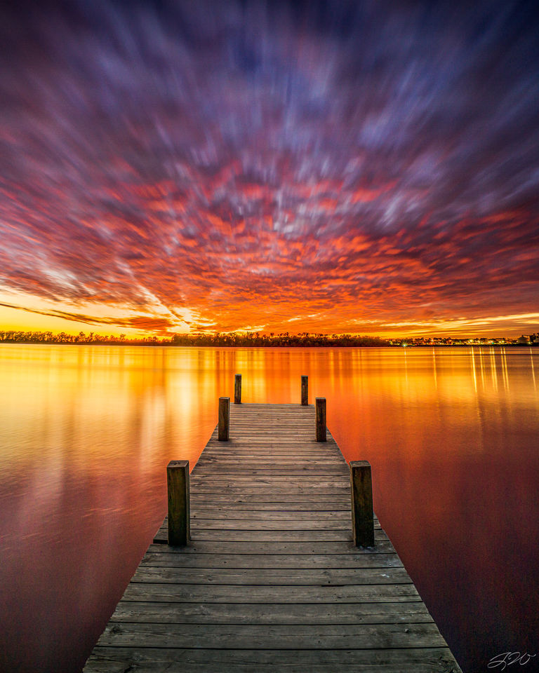 Boat Dock, Clouds, Evansville, Indiana, Kentucky, Long Exposure, Ohio River, Reflection, Sunset, Waterfall