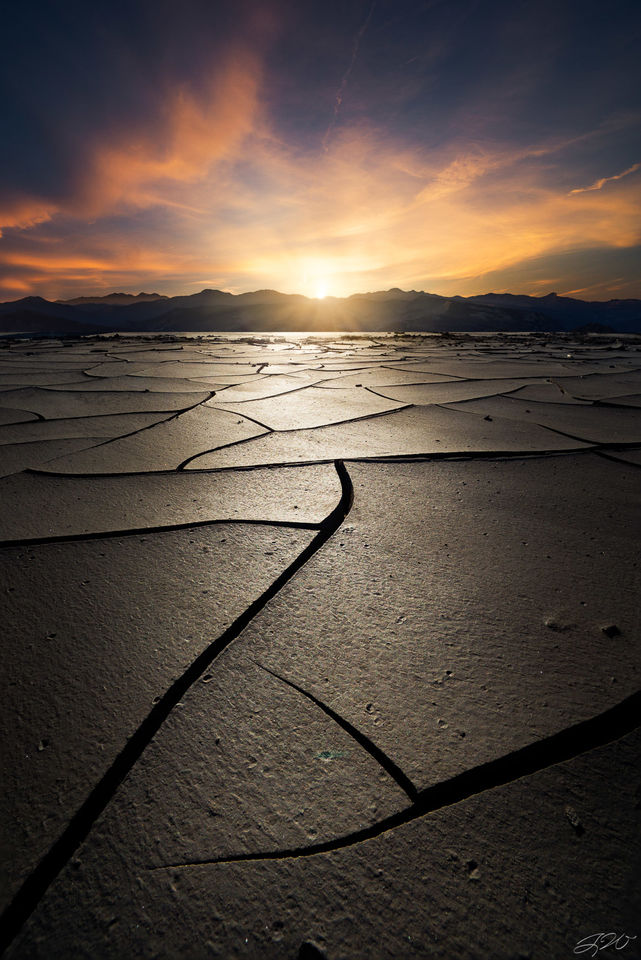 Clouds, Desert, Mountains, Mud Crack, Sunset, Wide Angle