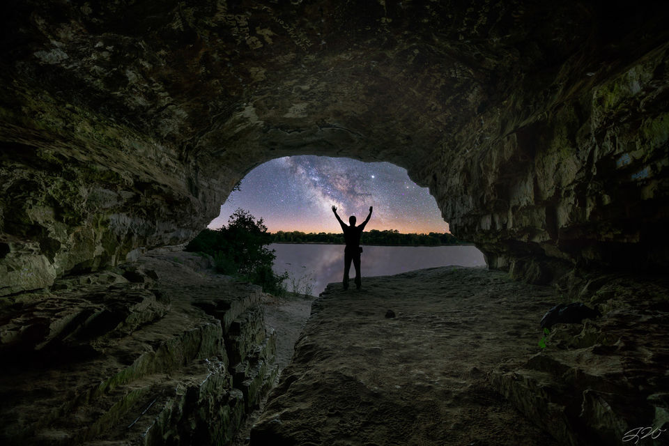 Cave in Rock, Illinois, Milky Way, Night Sky, Ohio River, Shawnee National Forest, Stars, light pollution