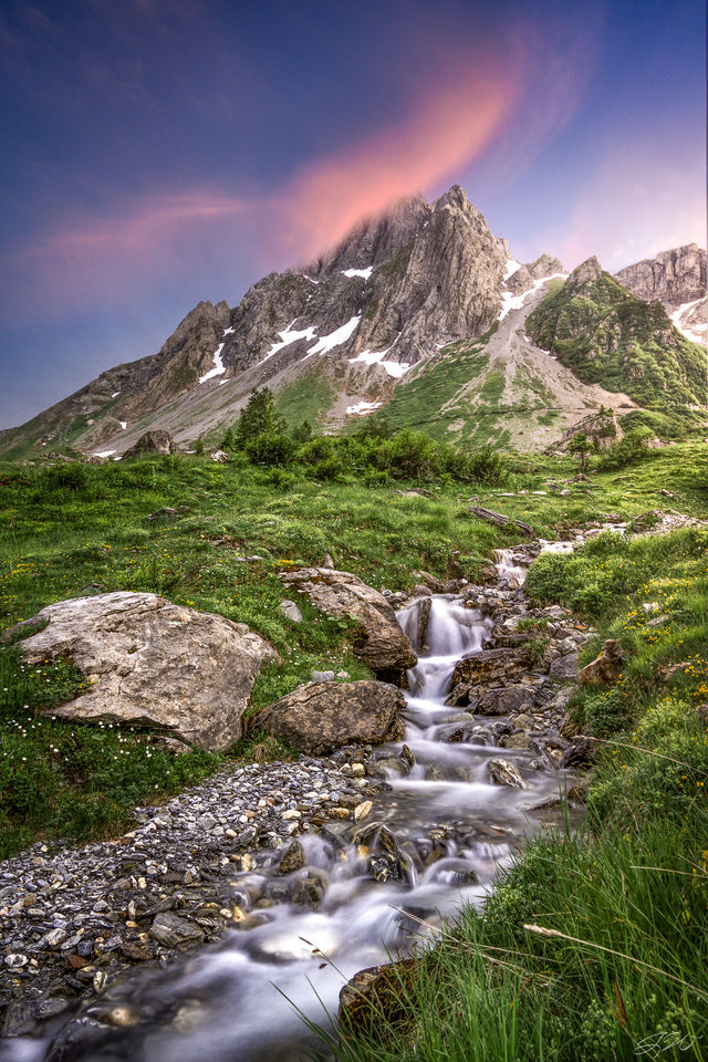 Alps, Clouds, Europe, France, Hiking, Long Exposure, Sunset, TMB, Tour Du Mont Blanc, Waterfall