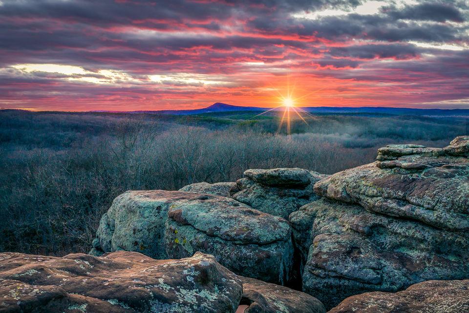 garden of the gods, Illinois, shawnee national forest, sunset, sunstar, clouds, landscape, winter