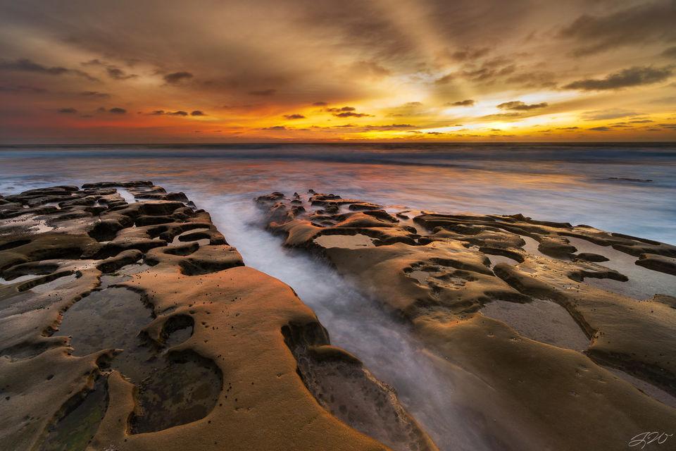 la jolla, california, san diego, sunset, pacific ocean, sun rays, seascape, long exposure