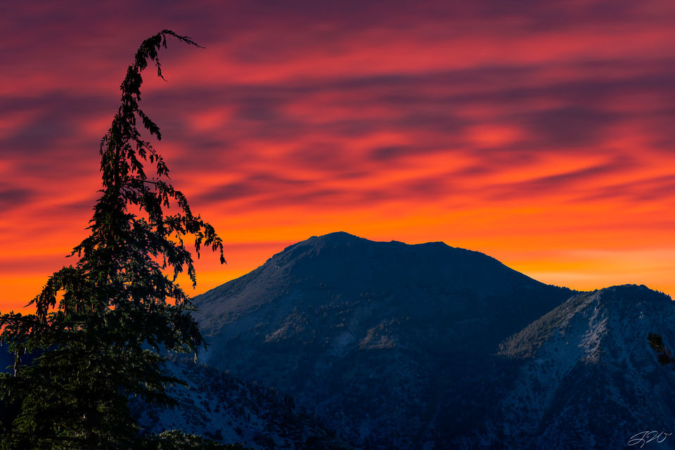 colorful, mountain, tree, sunset, telephoto, long exposure, clouds, backpacking, sony alpha