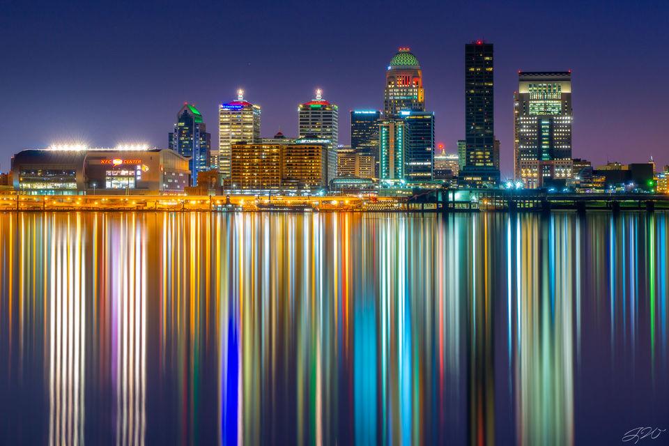louisville, kentucky, cityscape, night, ohio river, ashland park, reflections, downtown