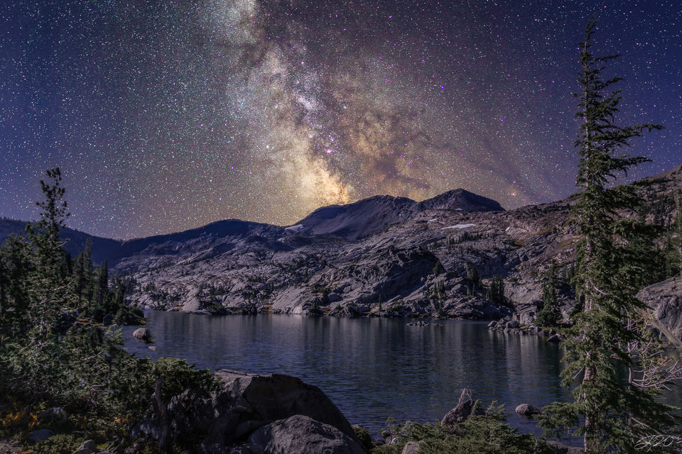 milky way, night sky, astrophotography, mountain, lake, tree