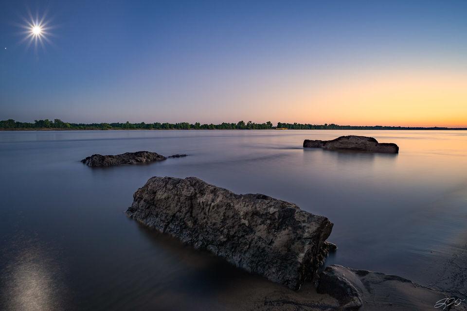 landscape, sunset, moon, moonrise, long exposure, full moon, simple, minimalist