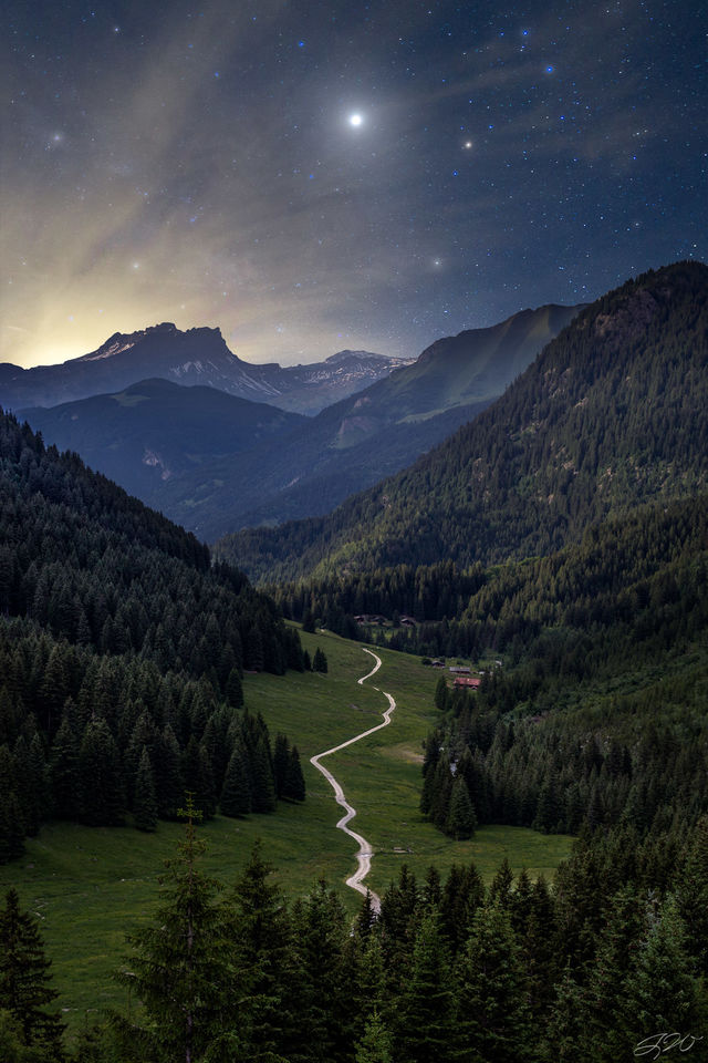 alps, astrophotography, france, europe, tour du mont blanc, jupiter, milky way, backpacking