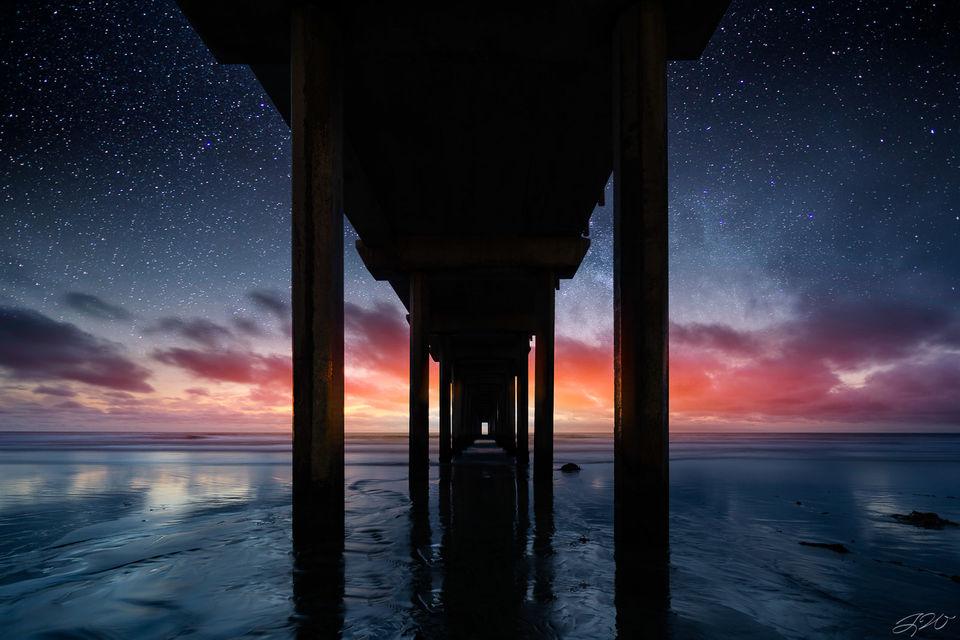 scripps pier, time blend, la jolla, california, astrophotography, time, best seller