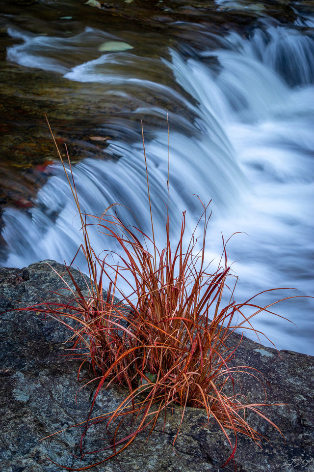 cascades, waterfall, composition, grass, long exposure, strength, simple, nature