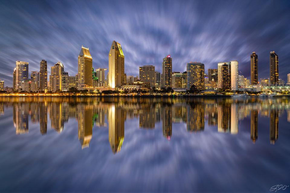 California, Cityscape, Coronado Island, Long Exposure, Pacific Ocean, San Diego, Skyline, downtown, san diego bay