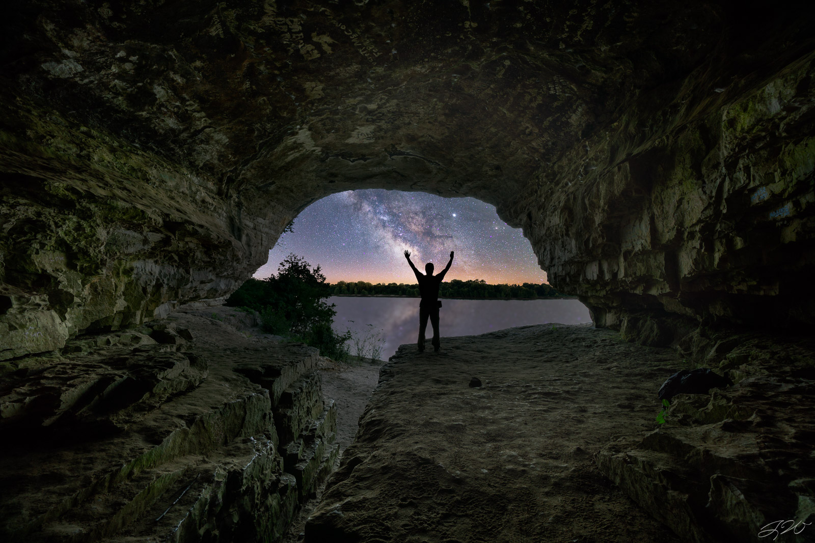 Cave in Rock, Illinois, Milky Way, Night Sky, Ohio River, Shawnee National Forest, Stars, light pollution, photo