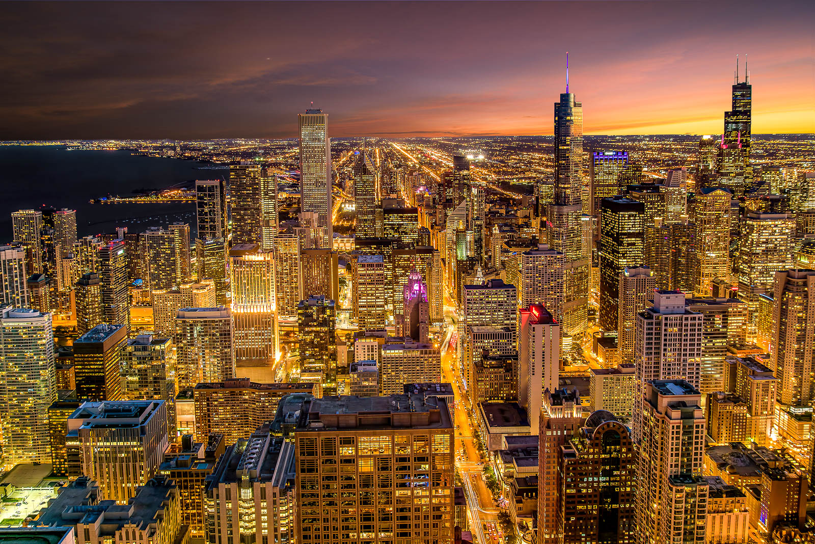 Fine Art Limited Edition of 100. The Chicago Skyline glows as the last light of the day fades below the horizon. Dusk is one...