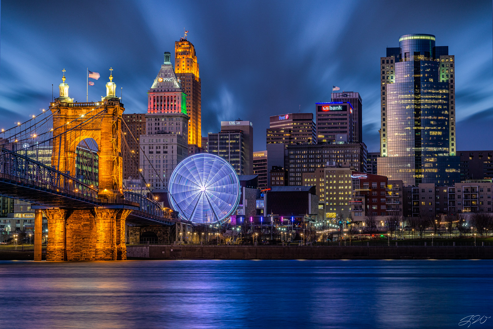 Fine Art Limited Edition of 100. An incredible image of the Cincinnati skyline at night. The view of Downtown Cincinnati from...