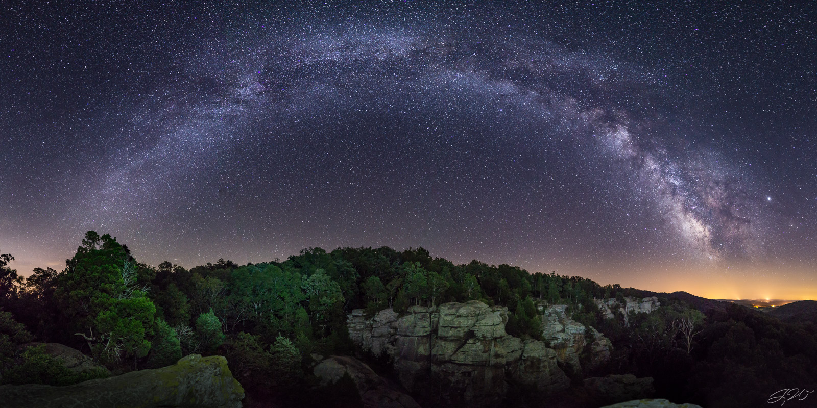 Fine Art Limited Edition of 100. The full arch of the Milky Way over Garden of the Gods in Shawnee National Forest. This area...