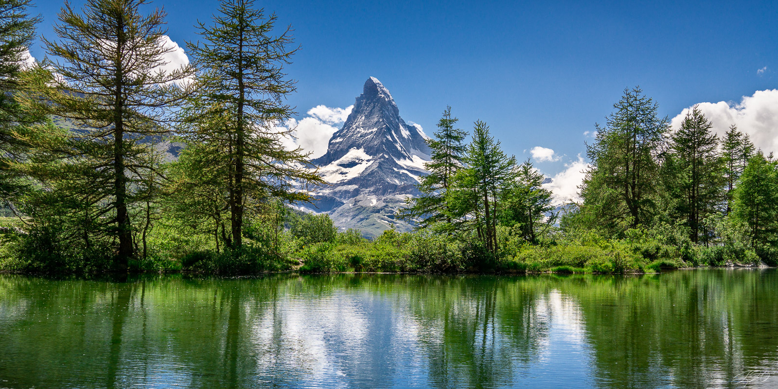 Lake, Landscape, Matterhorn, Mountain, Reflection, switerland, zermatt, Grindjisee, panorama, photo