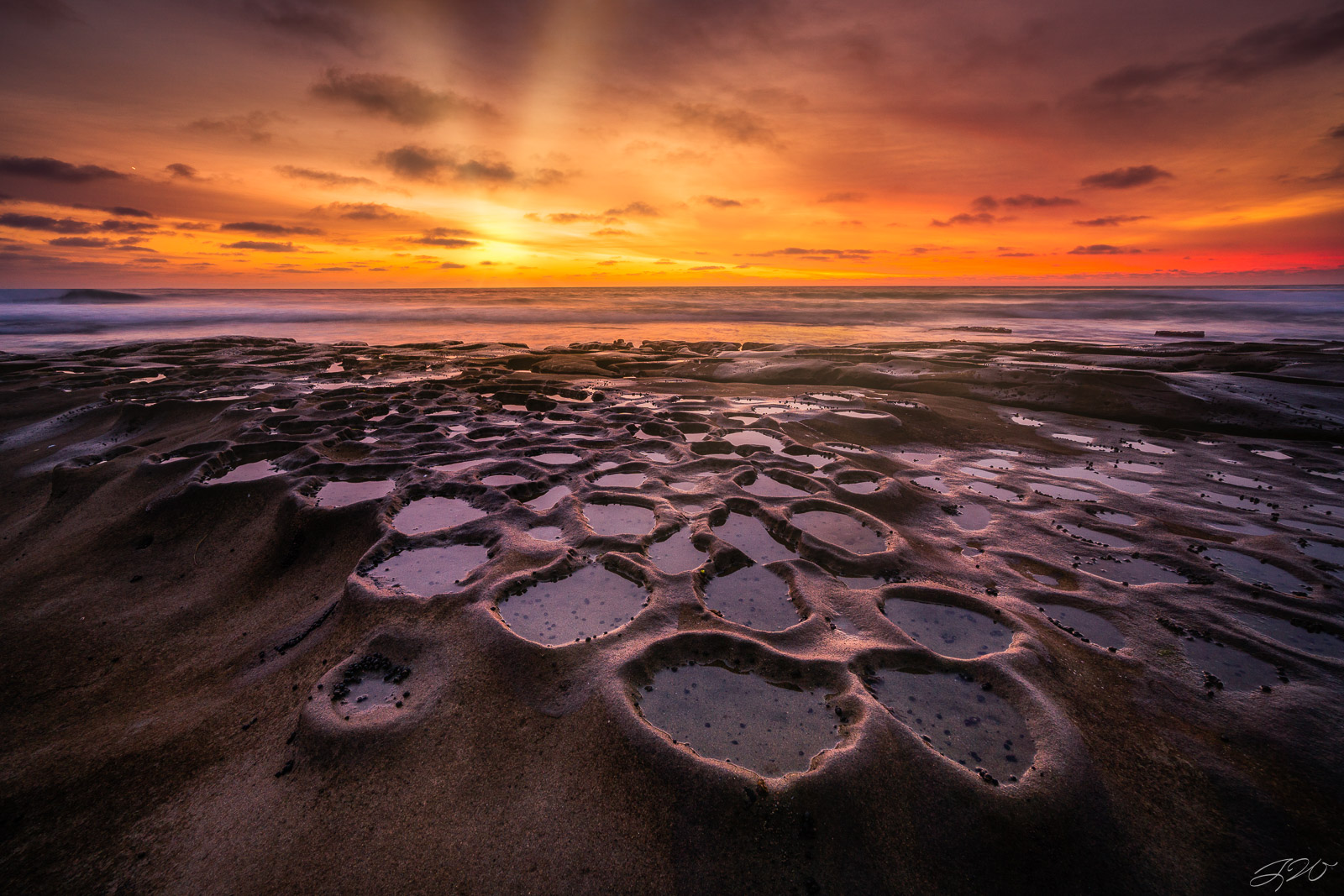 la jolla, california, san diego, southern california, pacific ocean, seascape, sunset, tide pool    , photo