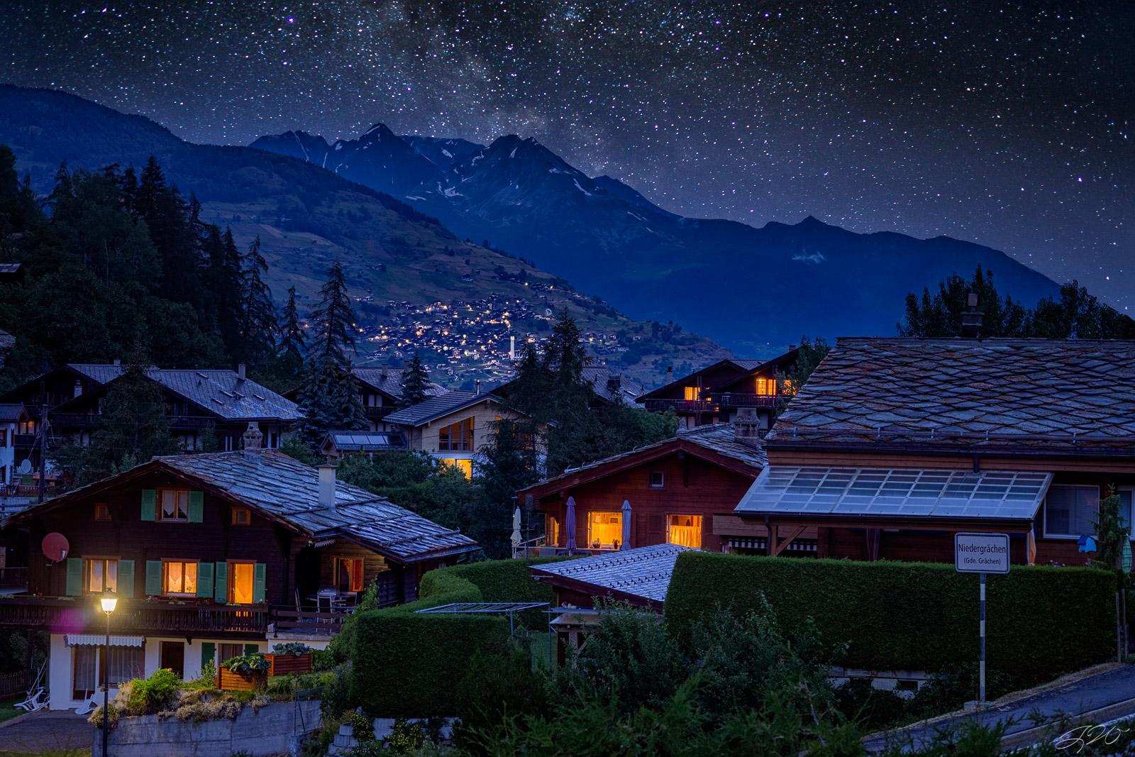 mountain, grächen, astrophotography, night sky, zermatt, matter valley, switzerland, europe, europaweg, tour du mont blanc, photo