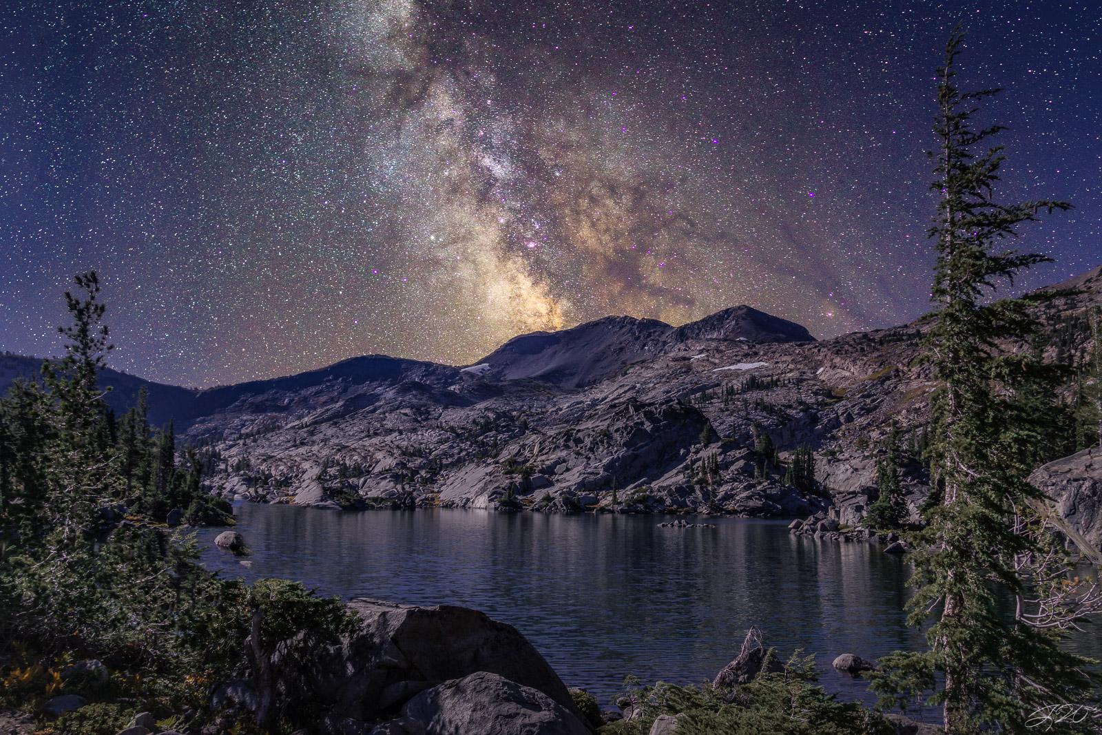 milky way, night sky, astrophotography, mountain, lake, tree, photo