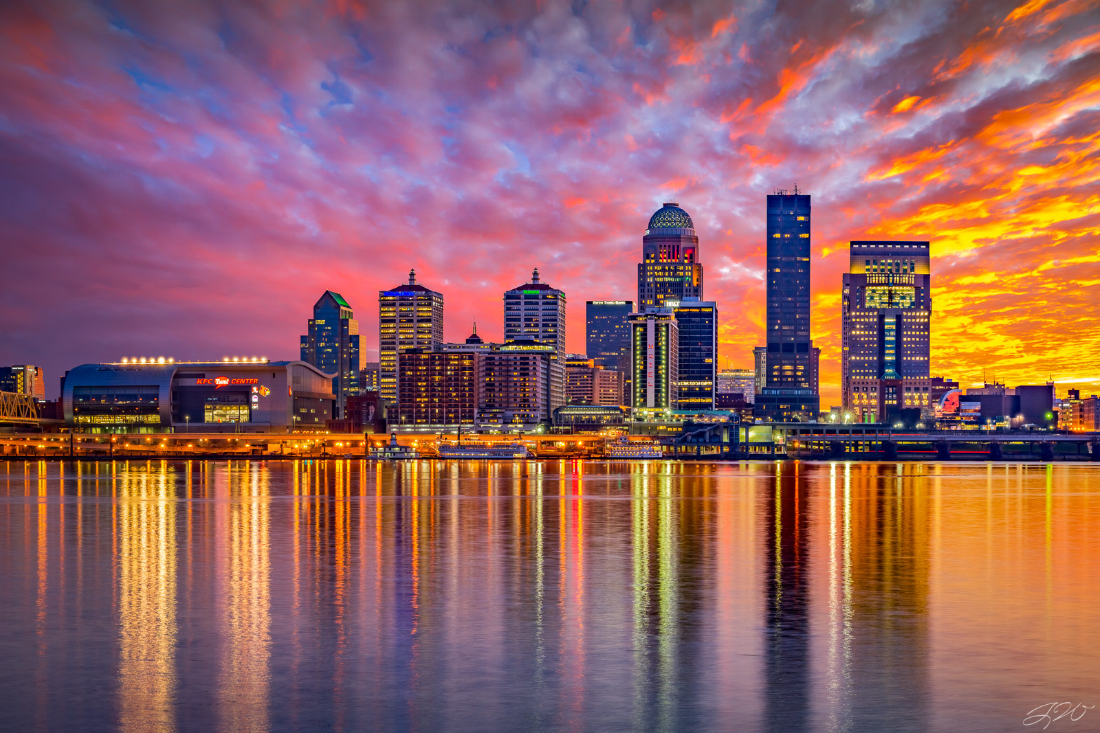 Cityscape, Clouds, Colorful, Kentucky, Louisville, Ohio River, Skyline, Sunset, ashland park, jefferson, sky, photo